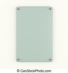 piastra, legato, parete, metallo, vetro, chiodi
