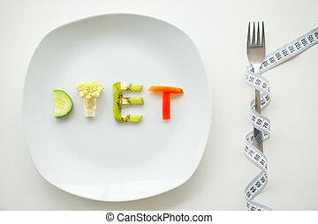 piastra, lettere, su, dieta, diet., verdura, chiudere