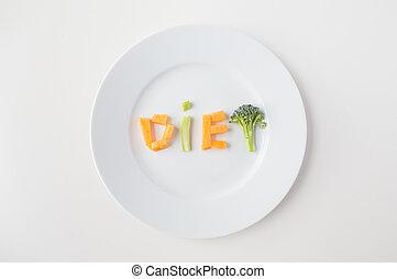 piastra, lettere, su, dieta, verdura, chiudere