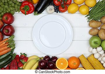 piastra, mangiare, sano, vegetariano, frutte, verdura, vuoto