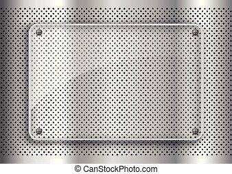 piastra, metallo, 1203, vetro, fondo, perforato