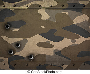 piastra metallo, con, camuffamento, e, fori pallottola, 3d, illustrazione