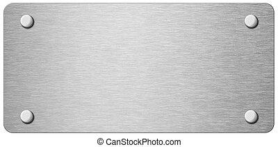 piastra, metallo, isolato, illustrazione, stretta, chiodi, 3d