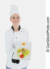 piastra, offerta, sano, uniforme, chef, cibo