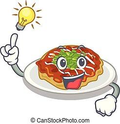 piastra, okonomiyaki, idea, possedere, servito, cartone animato