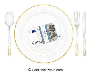 piastra, pacco, cinque, coltelleria, euro