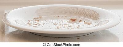 piastra, pane bianco, crumbs.