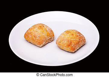 piastra, panini dolci, panino, due, bianco