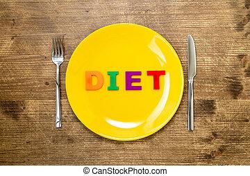 piastra, parola, dieta