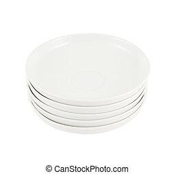 piastra, piatti, ceramica, mucchio, bianco, pila