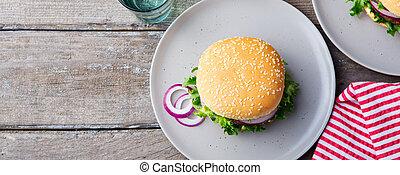 piastra, pickles., legno, space., hamburger, fondo., copia