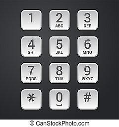 piastra, quadrante, tastiera, serratura, telefono, vettore, ...