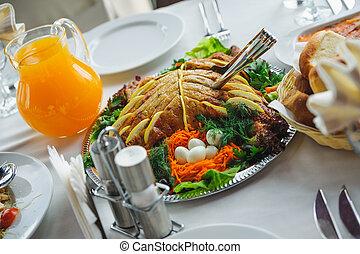 piastra., ristorante, cibo, bevanda, appetitoso, piatto,...