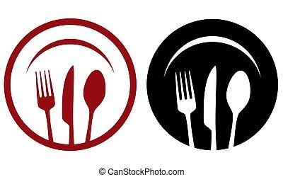 piastra, ristorante, forchetta, coltello, icone