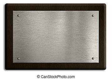 piastra, ritaglio, legno, isolato, white., included., percorso, argento, placca