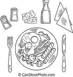 piastra, schizzo, saporito, cena, cotto