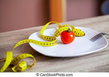 piastra, sovrappeso, nastro, concetto, pomodoro, misura