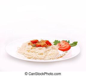 piastra, spaghetti, isolato
