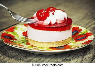 piastra, torta, ciliegia