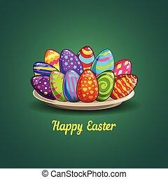 piastra, uova, pasqua, scheda