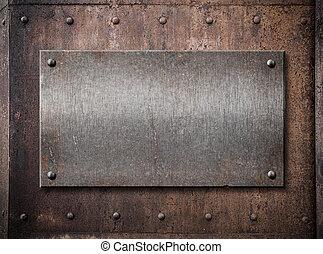 piastra, vecchio, sopra, metallo, metallico, fondo, ruggine