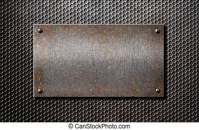 piastra, vecchio, sopra, metallo, rustico, arrugginito, sfondo griglia, pettine, o