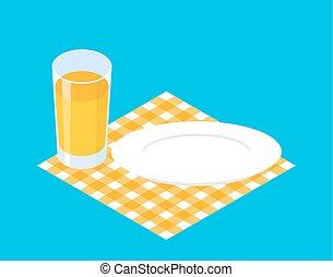 piastra., vetro, illustrazione, succo, vettore, colazione, template., vuoto