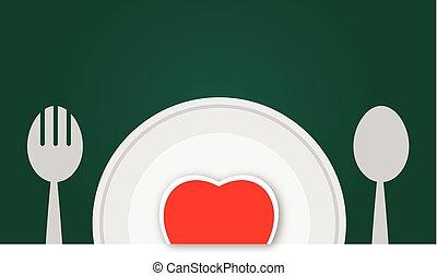 piastra, vettore, cuore rosso