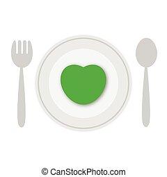 piastra, vettore, verde, cuore