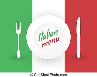 piastre, bandiera, coltelleria, italiano