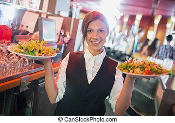 piastre, barista, carino, presa a terra, insalate