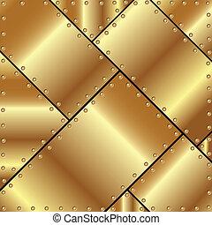 piastre, fondo, oro, metallico