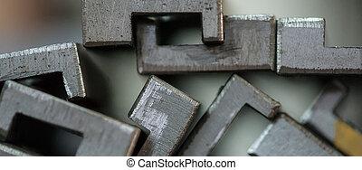 piastre, metallo, accatastato, chiudere