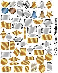 piastre, set, metallo