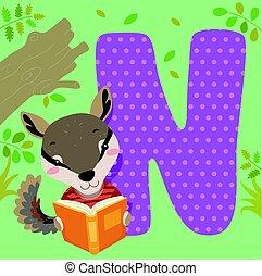 piastrella, alfabeto, leggere, numbat