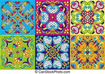 piastrella ceramica, talavera, messicano, pattern.