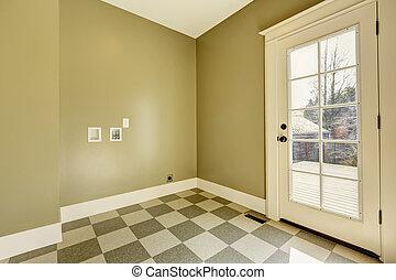 piastrella, corridoio, entrata, vuoto, pavimento
