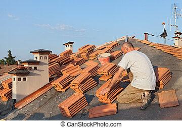 piastrella, installazione, tetto
