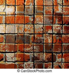piastrella, mattone, quadrato, struttura