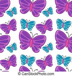 piastrella, modello, cartone animato, seamless, butteflies