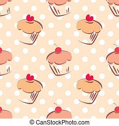 piastrella, punti, vettore, polka, cupcake