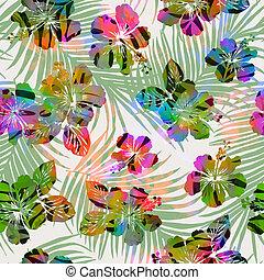 piastrella, tropici, -, seamless, colorito