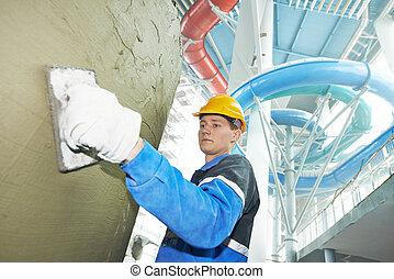 piastrellisti, a, industriale, pavimento, tegolato, rinnovamento