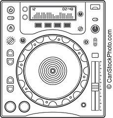 piattaforma girevole, vettore, contorno, cd