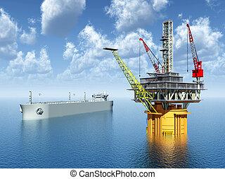 piattaforma, olio, superpetroliera
