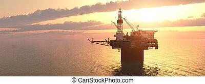 piattaforma, olio, tramonto