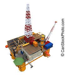piattaforma, petrolio facendo, costa, autotreno