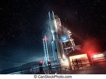 piattaforma, razzo spaziale, lancio