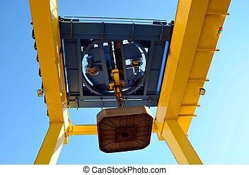 piattaforma, scarico, elettrocalamita