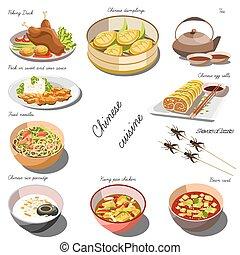 piatti, cibo cinese, set., collezione, cousine